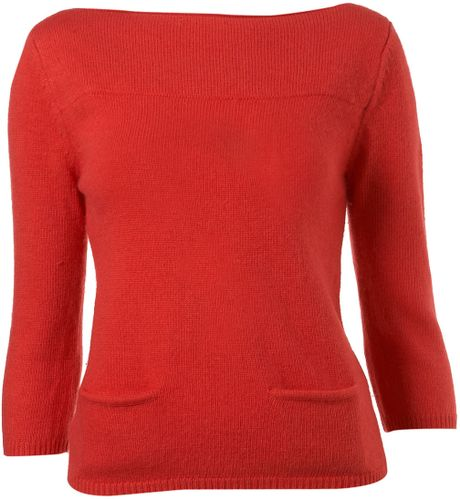Topshop Knitted Slash Neck Jumper in Red (bright red) Lyst