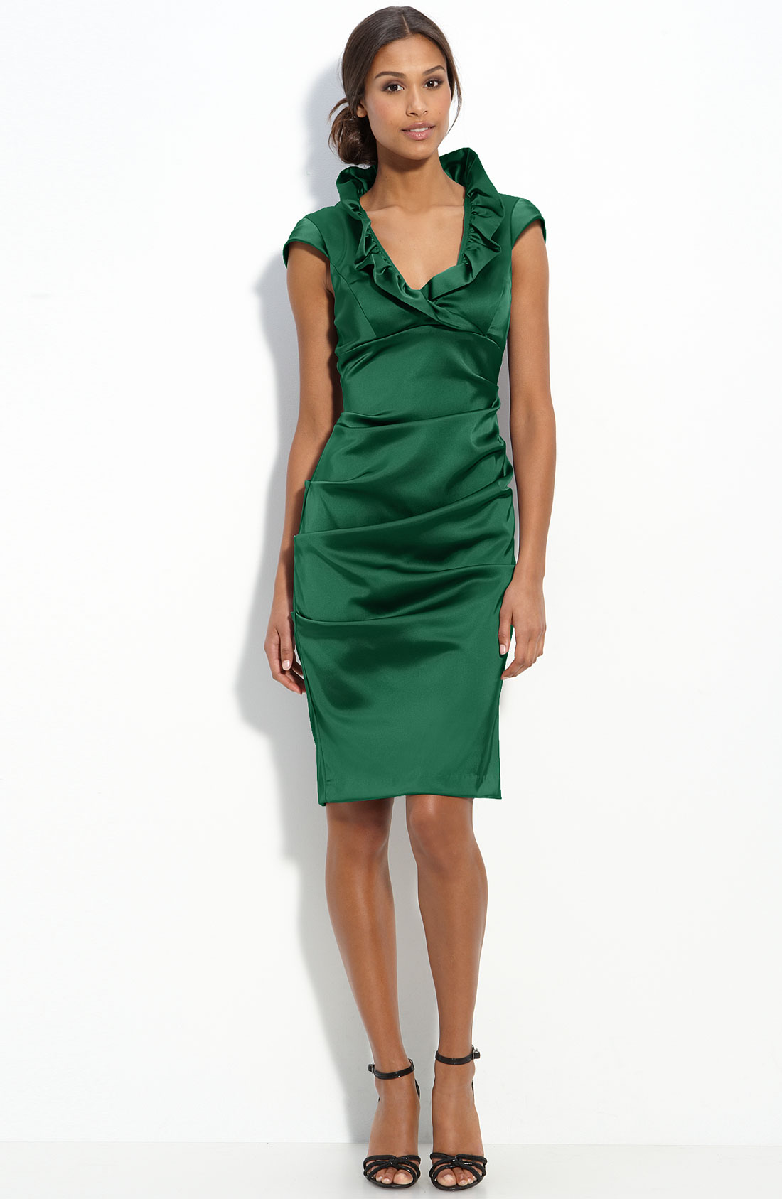 Xscape Ruffle Collar Stretch Satin Sheath Dress In Green