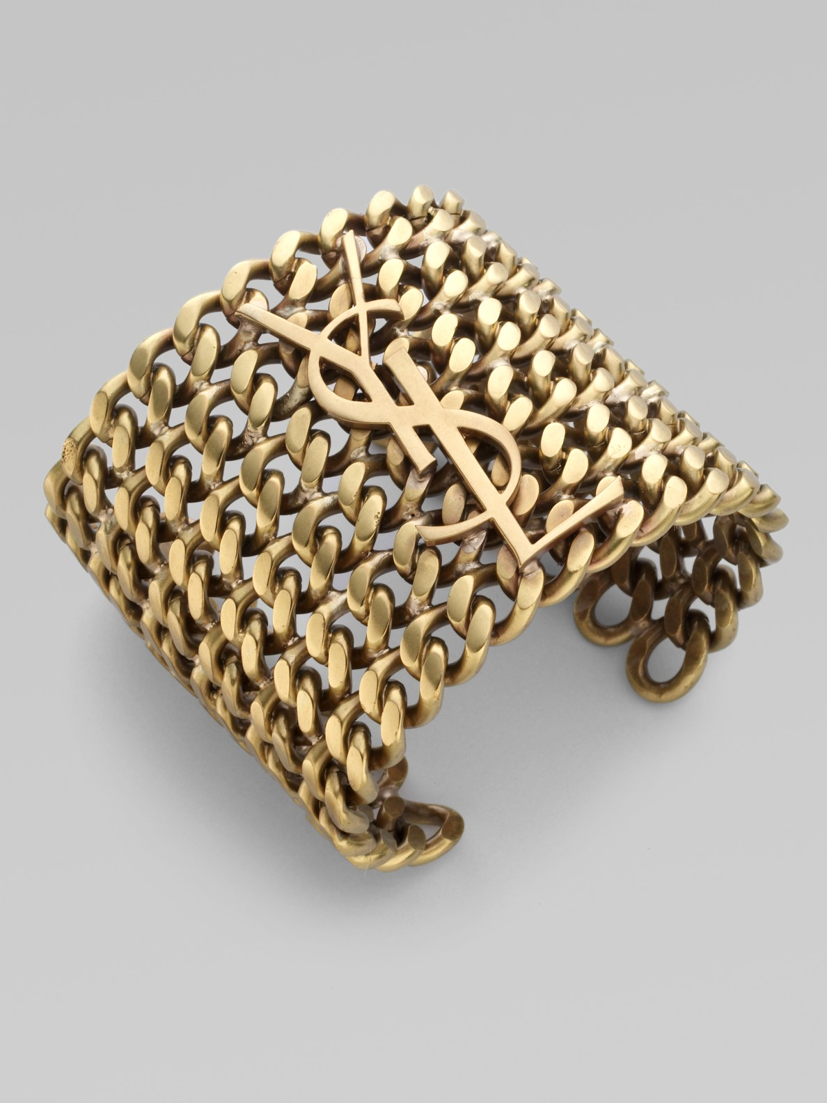 saint laurent signature structured chain cuff bracelet in gold lyst. Black Bedroom Furniture Sets. Home Design Ideas