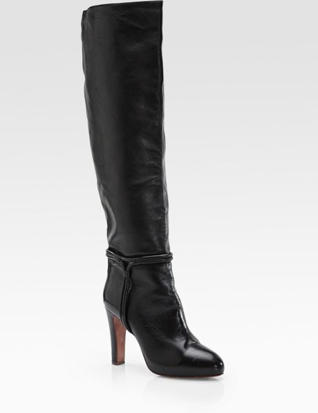 elie tahari marsha leather knee high harness boots in