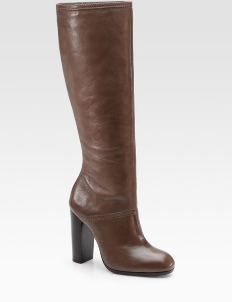 elizabeth and creed leather knee high boots in brown