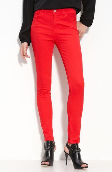 J Brand Marie High Rise Skinny Stretch Jeans Bright Red
