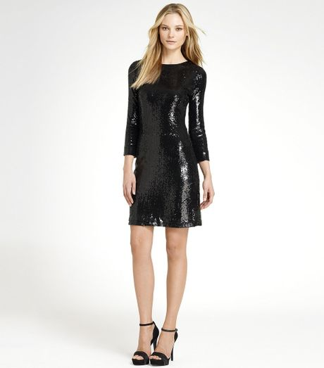 Tory Burch Sequins Dress in Black - Lyst