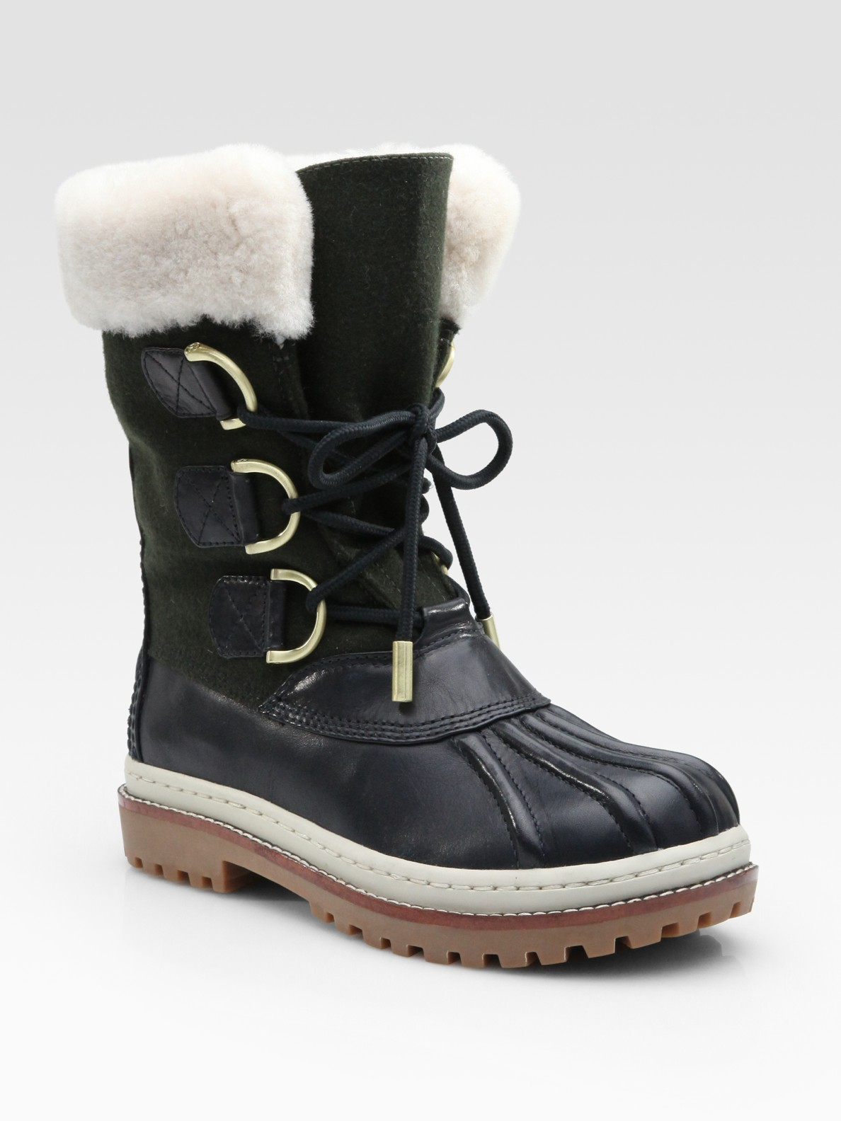 burch leather flannel shearling duck boots in green