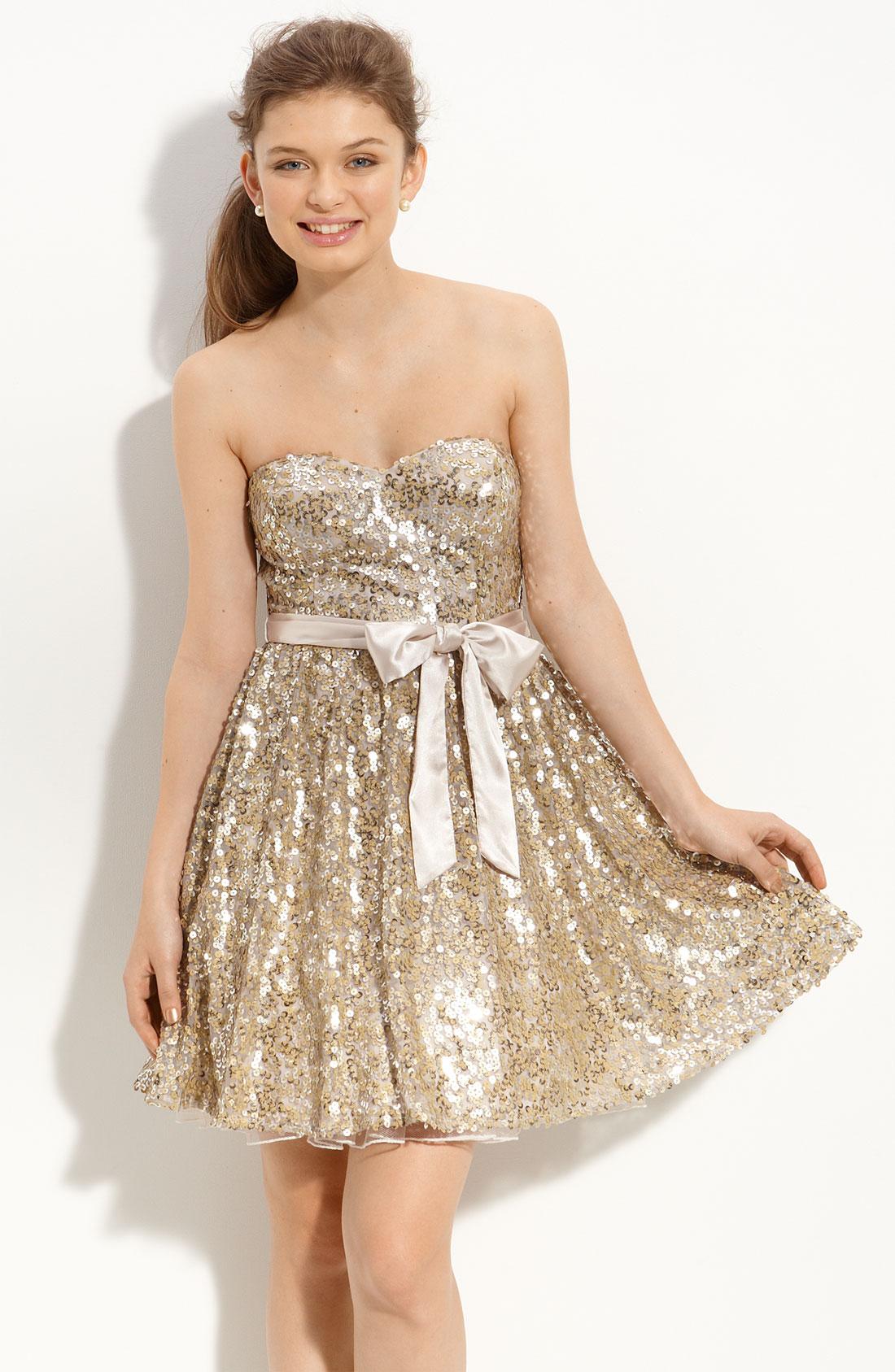 Way-in Sequined Party Dress (juniors) in Metallic | Lyst
