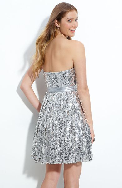 Way-in Sequined Party Dress (juniors) in Silver | Lyst
