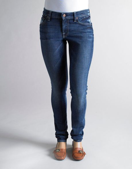7 for all mankind roxanne classic skinny jeans in blue lyst. Black Bedroom Furniture Sets. Home Design Ideas