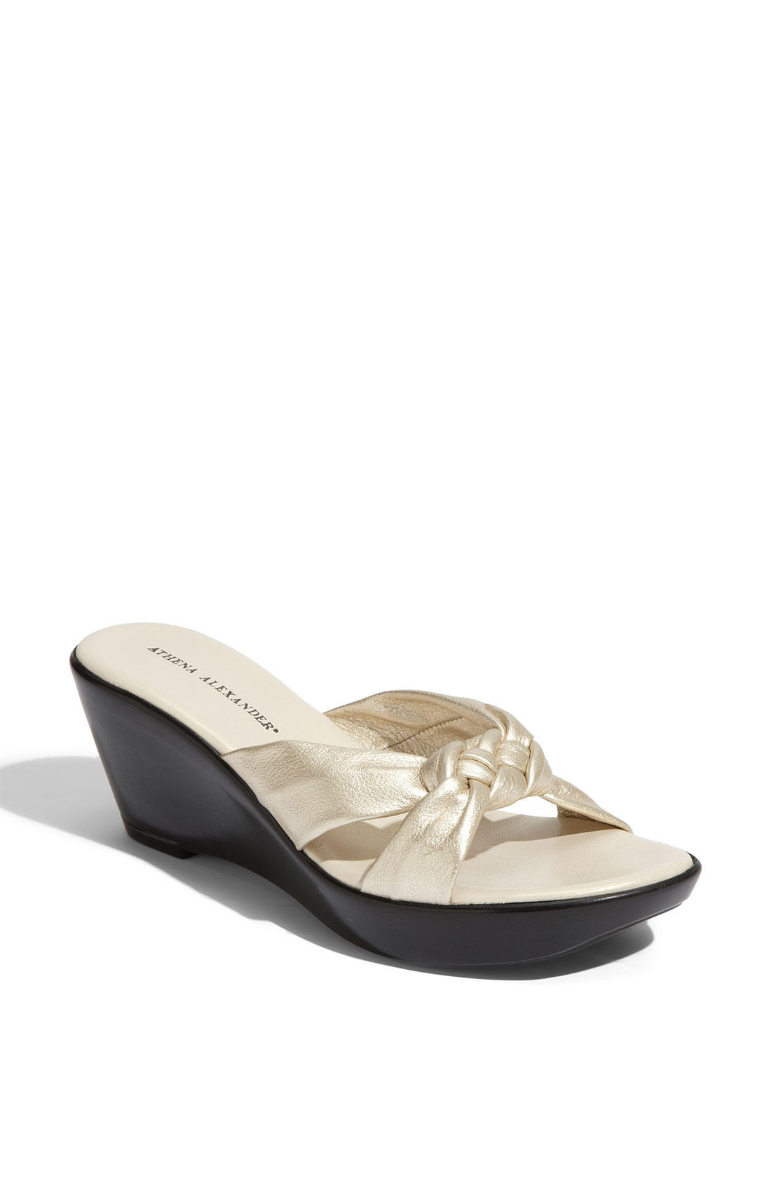 Athena Alexander Diane Wedge Sandal In Gold Champagne Lyst
