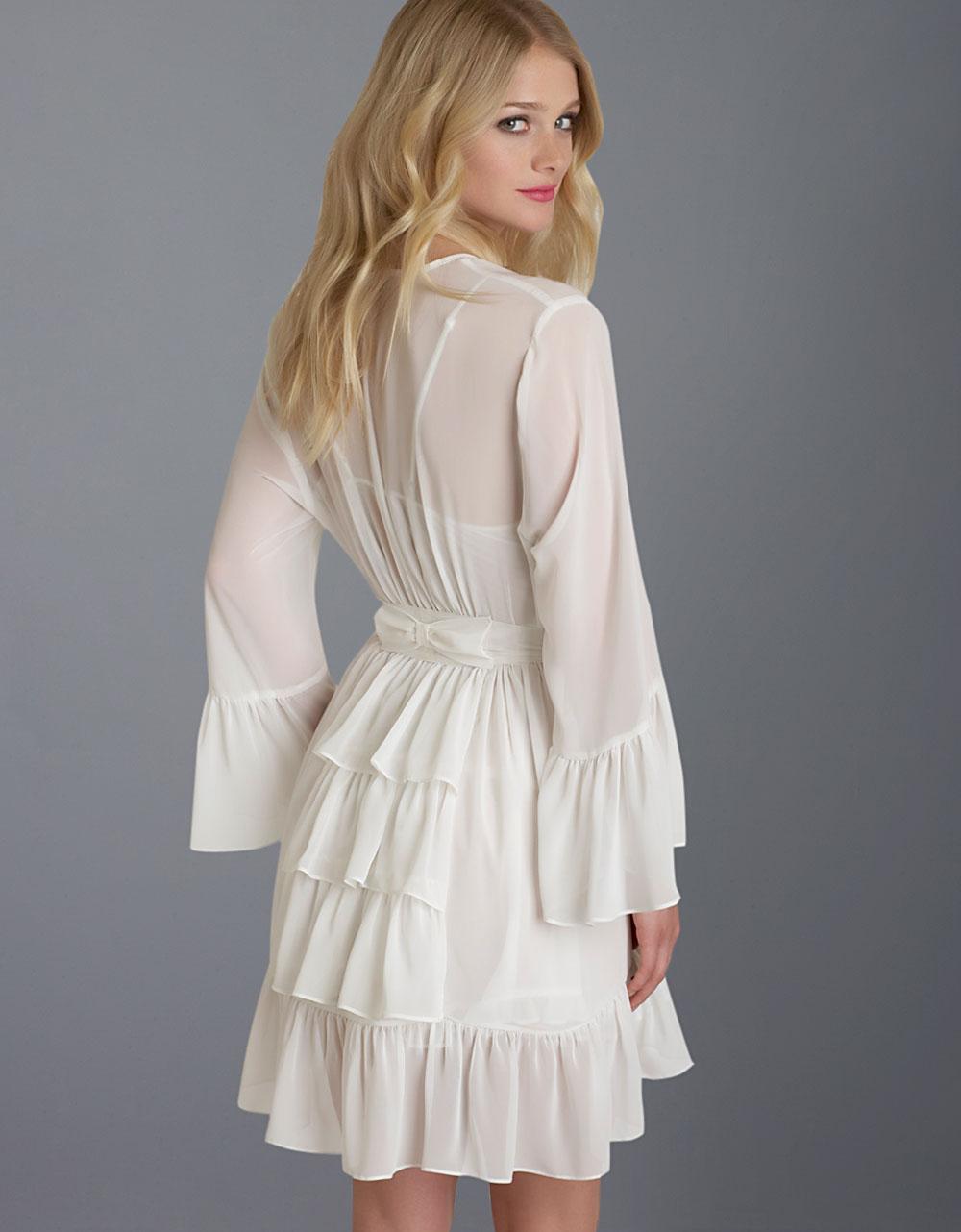 Betsey johnson chiffon ruffle wrap robe in white lyst for Robes de mariage de betsey johnson
