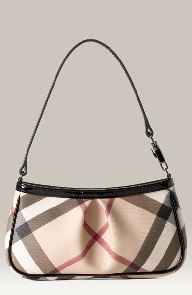 Burberry Small Check Print Shoulder Bag in Beige (nova/ black)