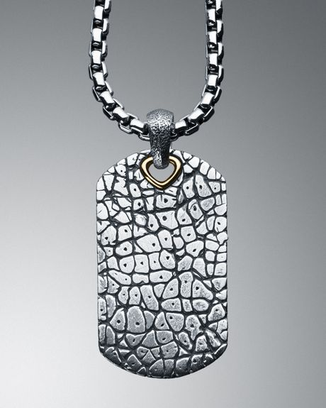 David Yurman Large Naturals Rhinoceros Tag Necklace In
