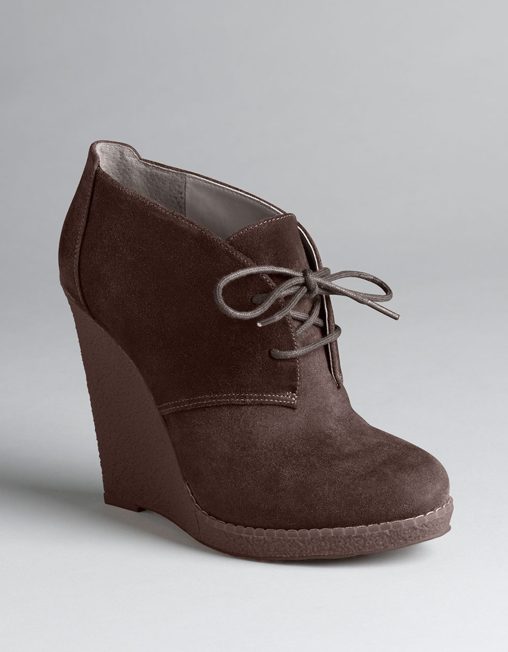 enzo angiolini suede lace up platform wedge boots in brown