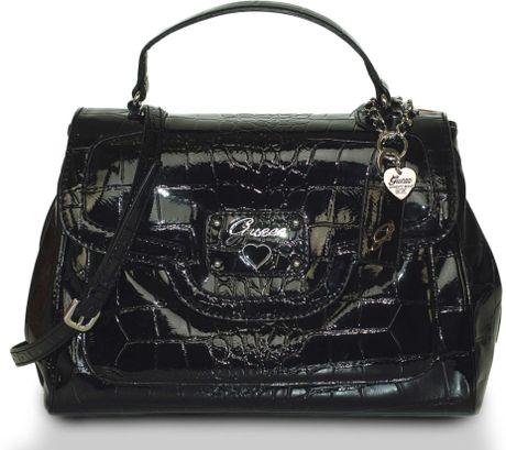 Guess Retro Croc Top Handle Tote Bag In Black Lyst