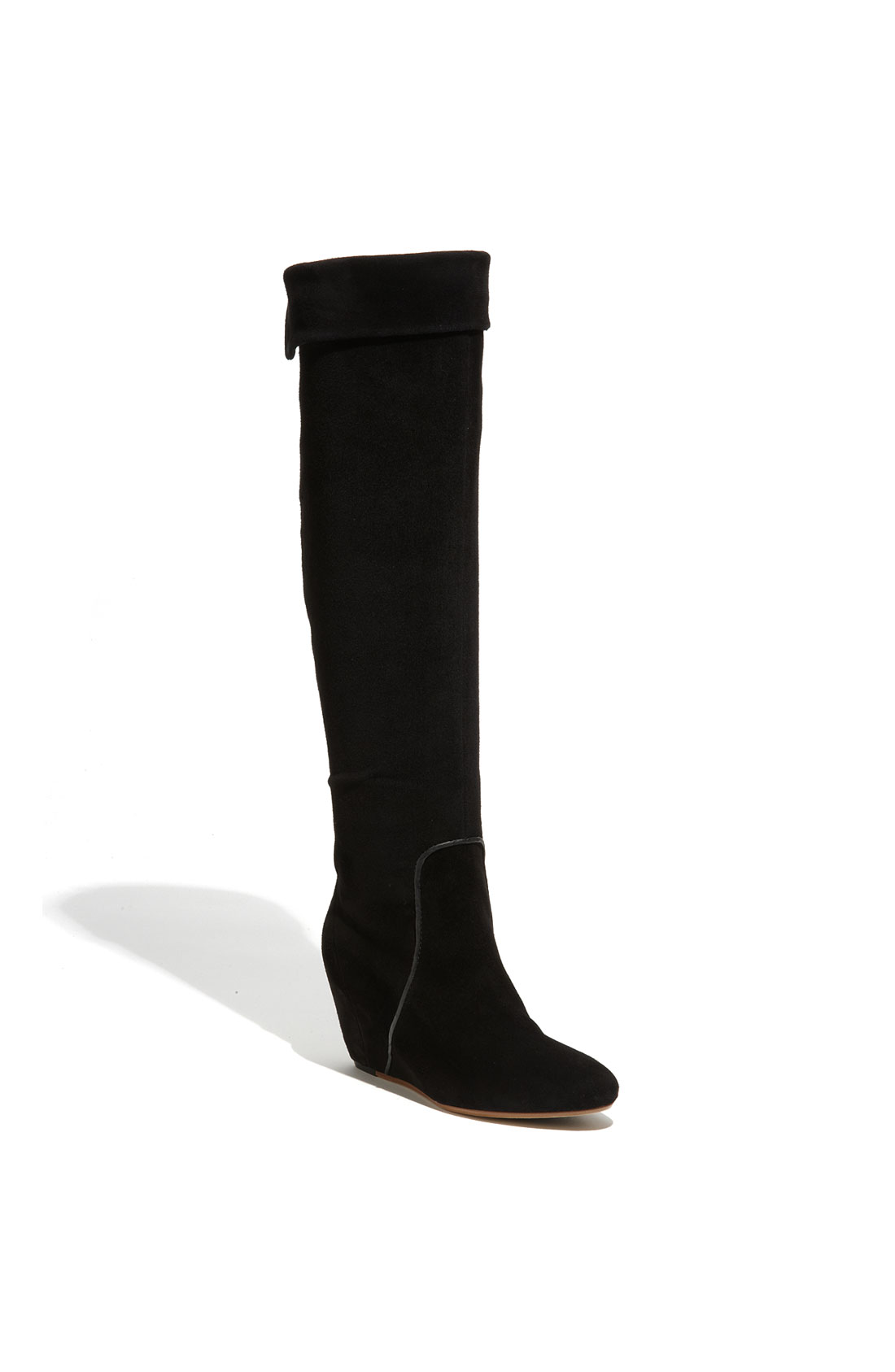 kors by michael kors suede wedge boots in black lyst