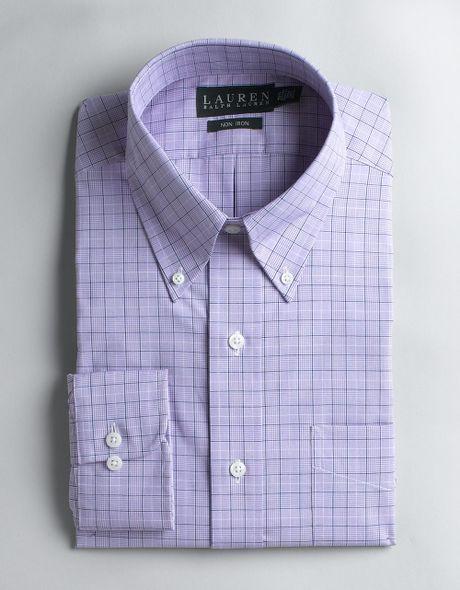 Lauren By Ralph Lauren Non Iron Plaid Dress Shirt With
