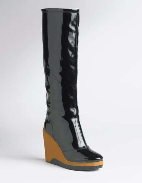 marc by marc patent leather wedge boots in black