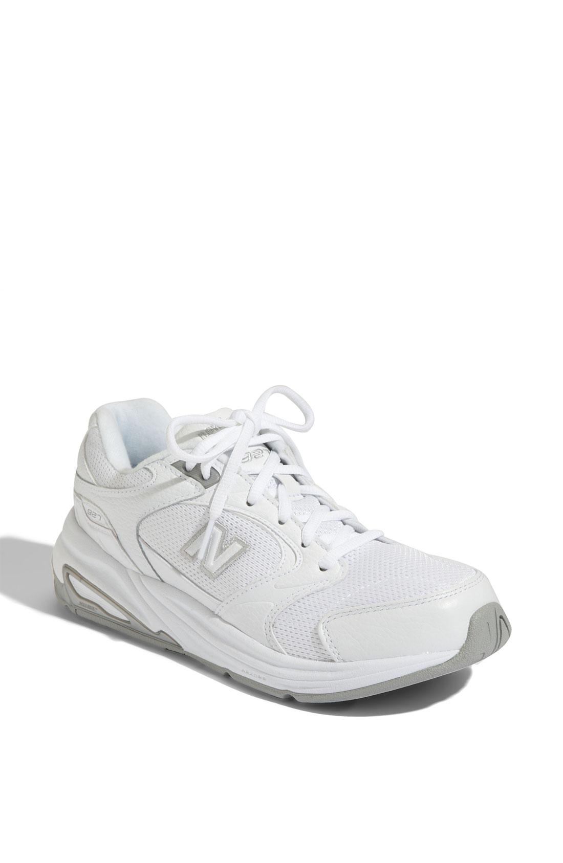 new balance 927 walking shoe in white white mesh