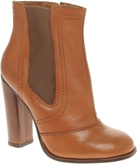 river island heeled chelsea boots in brown lyst