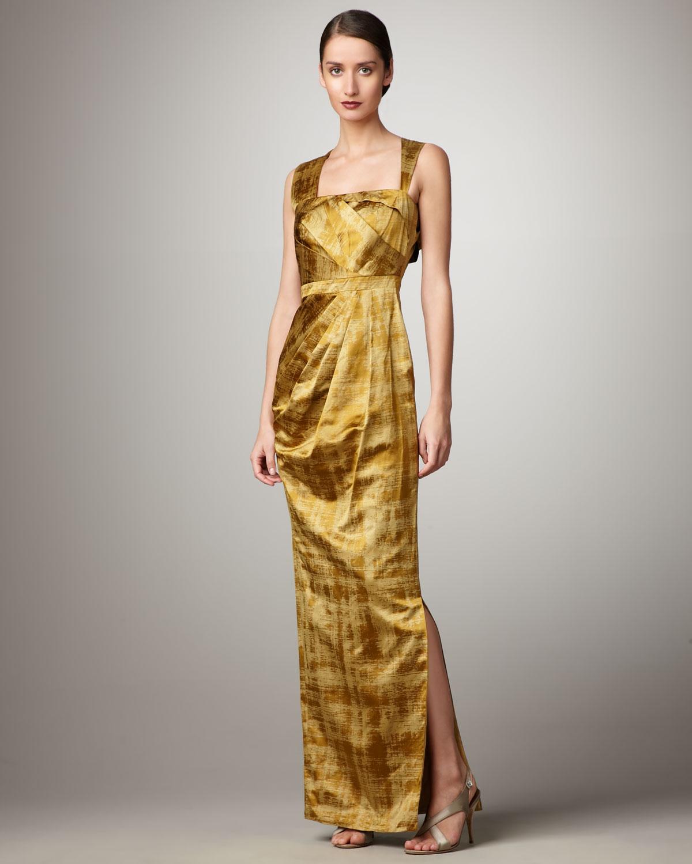 532e20f30941 Vera Wang Lavender Asymmetric-strap Printed Taffeta Gown in Yellow ...