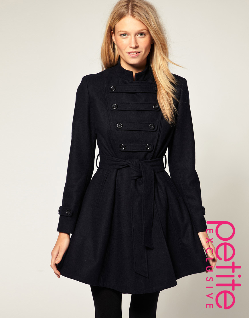Asos collection Asos Petite Exclusive Military Coat in Blue | Lyst