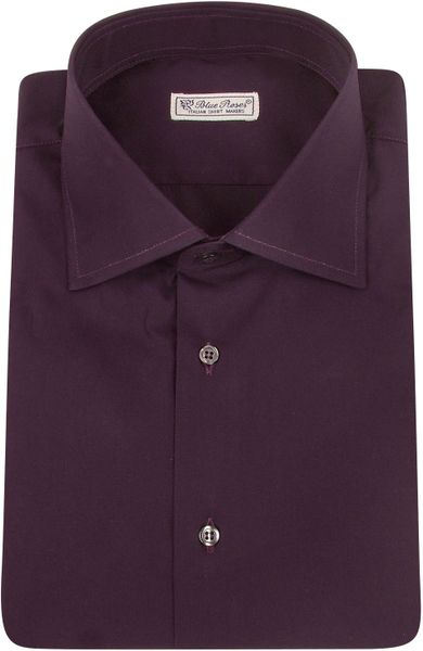 forzieri blue roses solid plum cotton dress shirt in