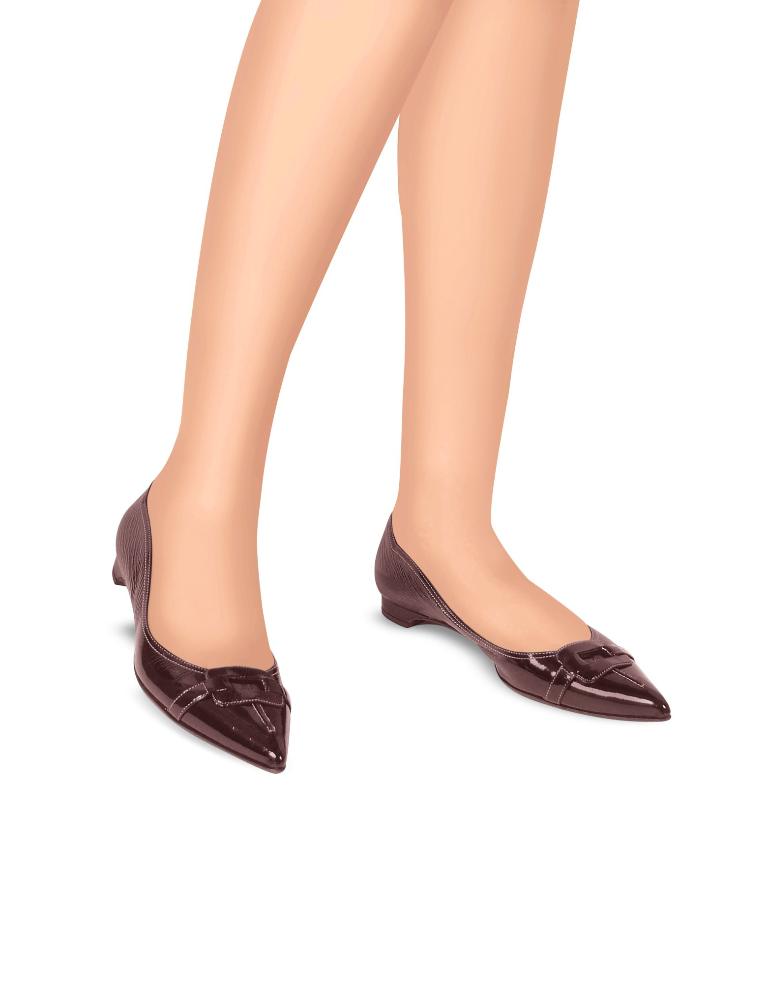 c2aacfc0 FORZIERI Burgundy Patent Leather Ballerina Flat Shoes in Brown - Lyst