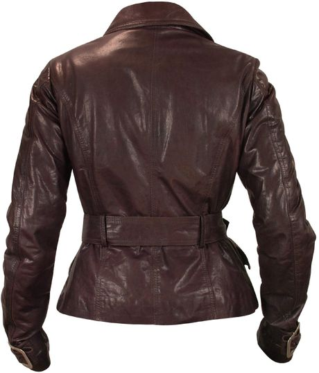 Burgundy leather jacket for women