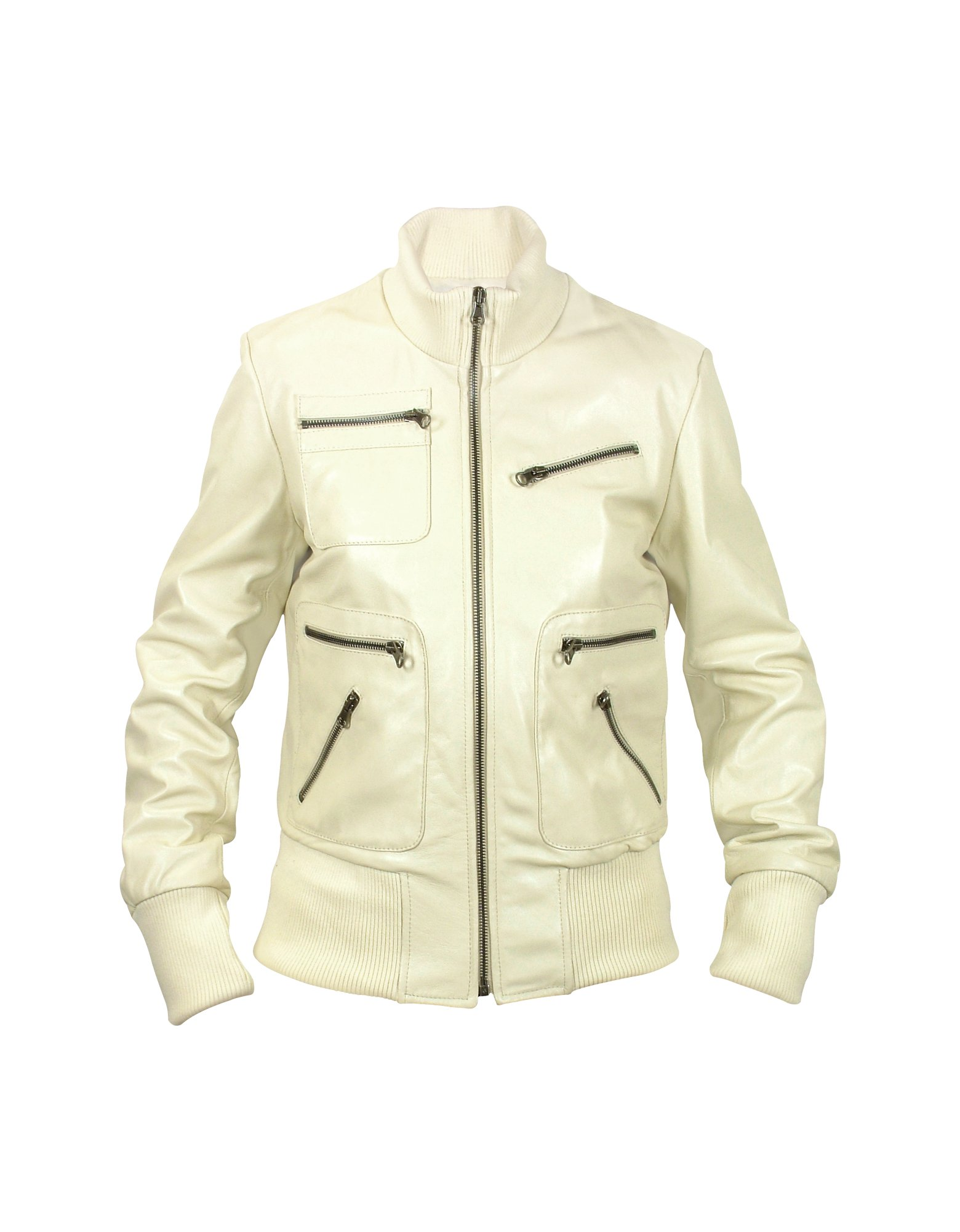Forzieri Womens Cream Leather Bomber Jacket in Natural | Lyst