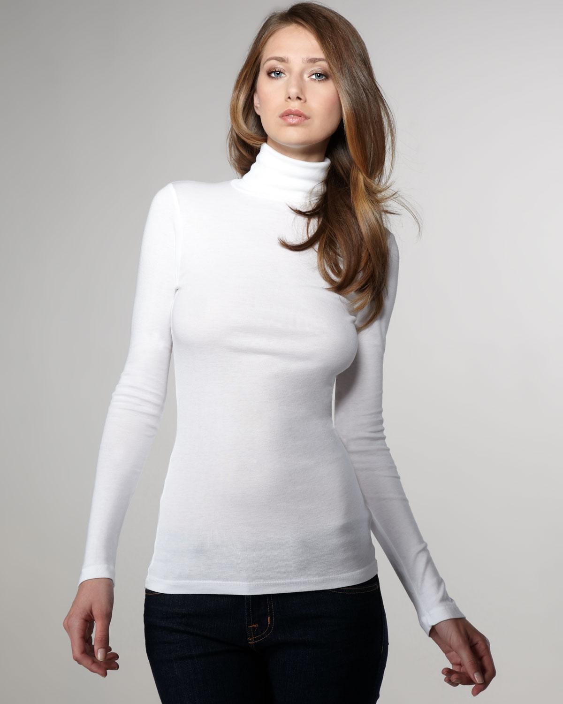 lyst splendid jersey turtleneck white in white