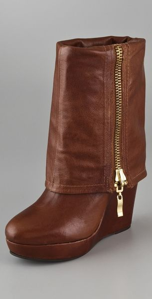 steven by steve madden brix wedge boots in brown cognac