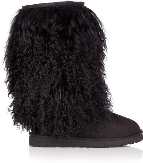 Ugg Black Mongolian Sheepskin Tall Boot in Black