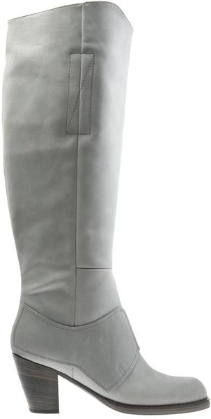 acne studios pistol knee high leather boots in gray grey