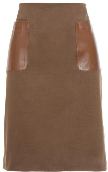 club monaco nadine pencil skirt with leather pockets in brown lyst