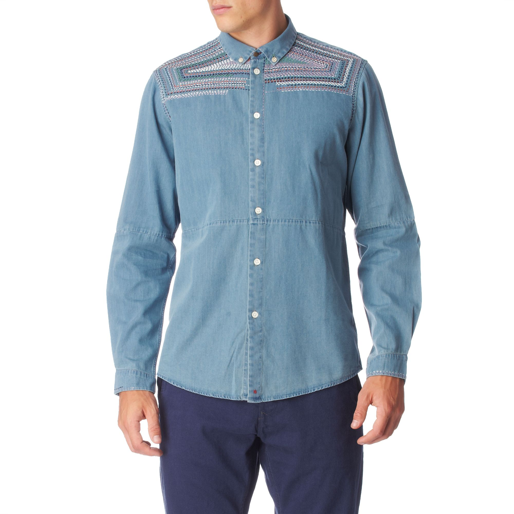 Paul smith embroidered slim fit single cuff shirt in blue for Single cuff dress shirt