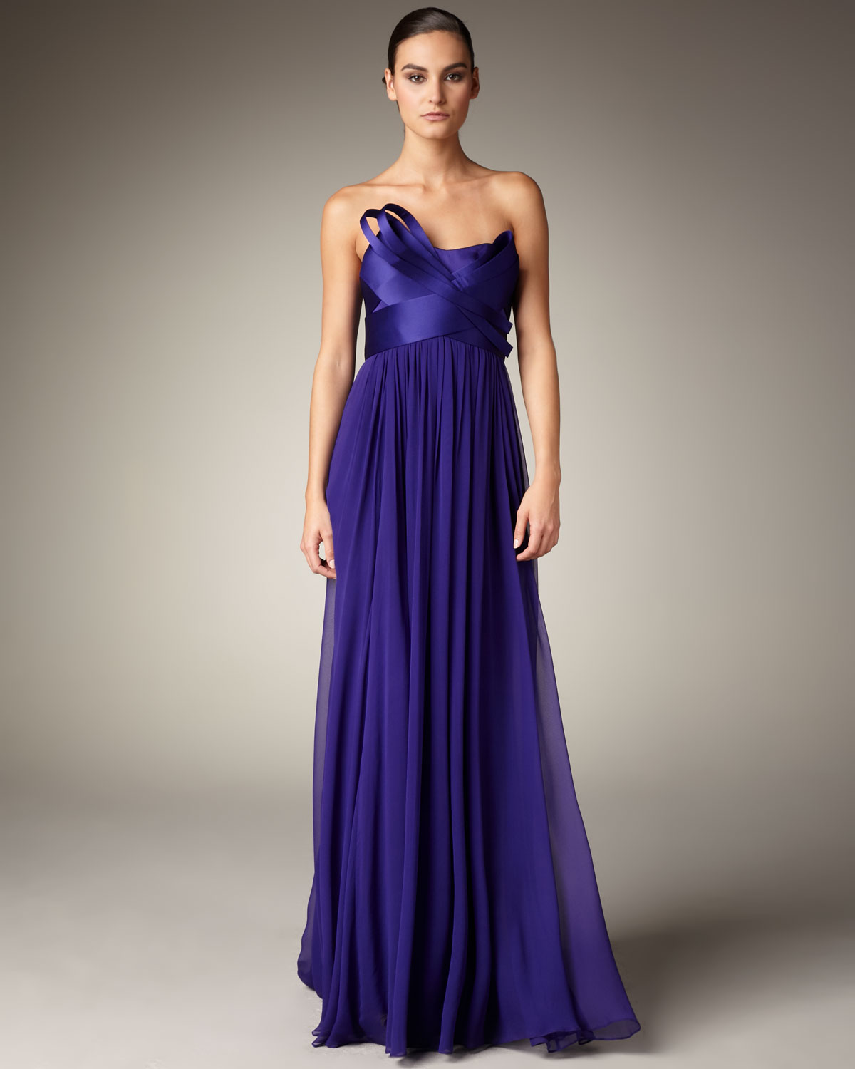 Lyst - Notte By Marchesa Sculpted-bodice Gown in Purple