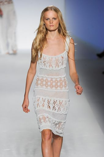 Alberta Ferretti Spring 2012 Sleeveless White Beaded Lace Dress   - Lyst