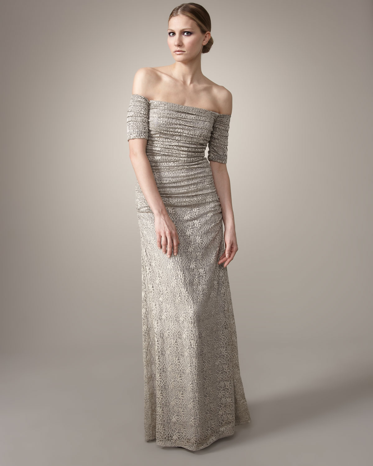 Lyst - Badgley Mischka Off-the-shoulder Stretch-lace Gown in Metallic