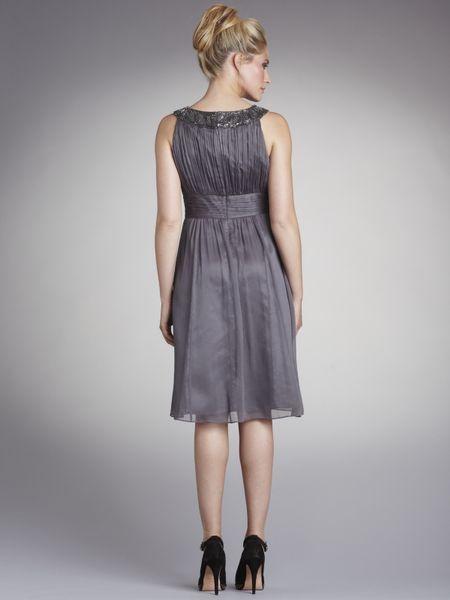 lewis bead neck dress grey in gray grey lyst