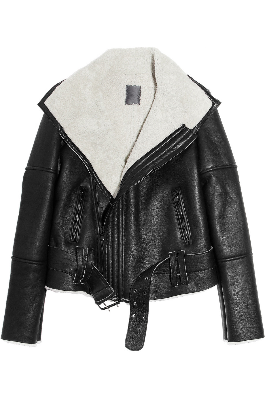 Lot78 Blake Shearling and Leather Biker Jacket in Black | Lyst