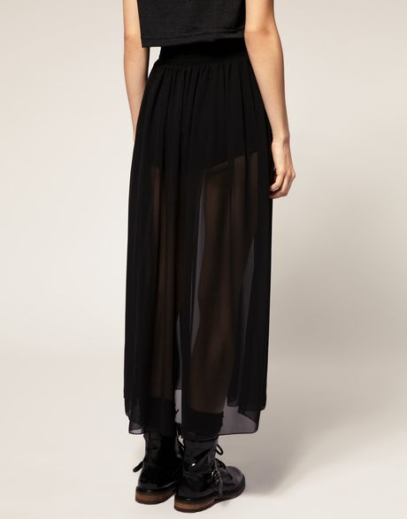 american apparel sheer maxi skirt in black lyst