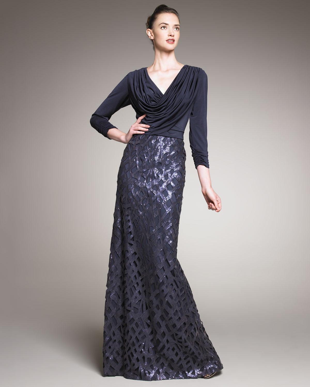 Lyst - Tadashi Shoji Sequin-skirt Draped Gown in Blue