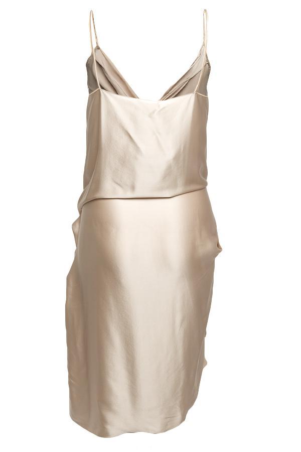 5a35e96953fa Lanvin Draped Slip Dress in Natural - Lyst