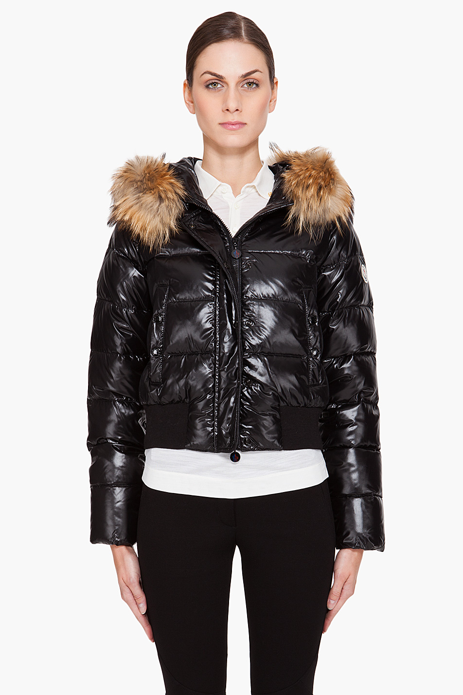 Lyst Moncler Armoise Shiny Quilted Jacket W Fur Hood In