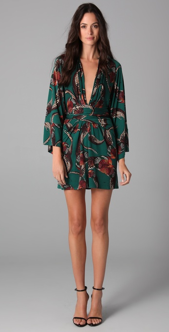 Lyst Issa Long Sleeve Print Kimono Dress In Green