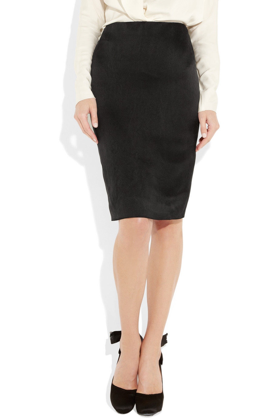 lanvin duchess satin pencil skirt in black lyst