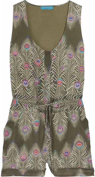 Matthew Williamson Printed Cotton Playsuit in Multicolor (olive) - Lyst