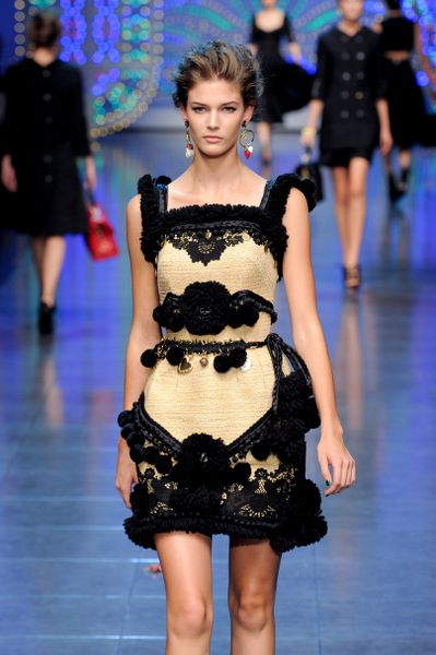 Dolce & Gabbana Spring 2012 Lace Embellished Cocktail Dress in Black - Lyst
