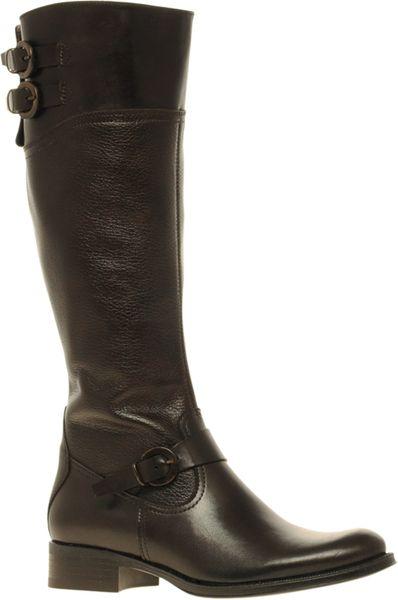 aldo aldo prettner leather flat buckle boots in black