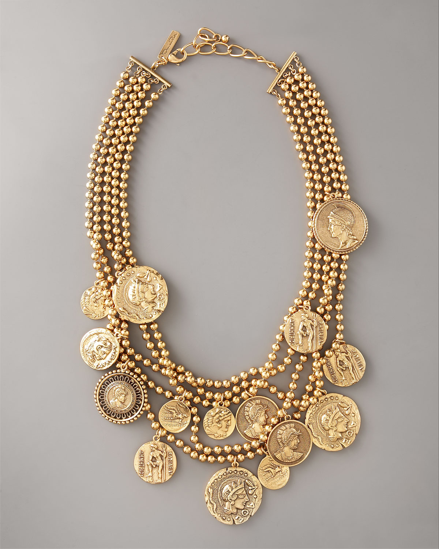 Oscar De La Renta Multi Strand Coin Pendant Necklace In