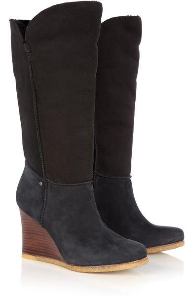 black ugg boots wedge heel